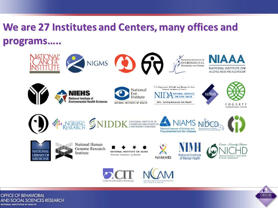 We are 27 Institutes and Centers, many offices and programs…..