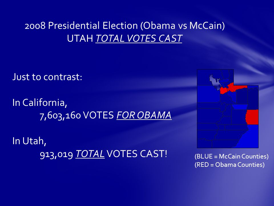 2008 Presidential Election (Obama vs McCain) UTAH TOTAL VOTES CAST Just to contrast: In California, 7,603,160 VOTES FOR OBAMA In Utah, 913,019 TOTAL VOTES CAST.
