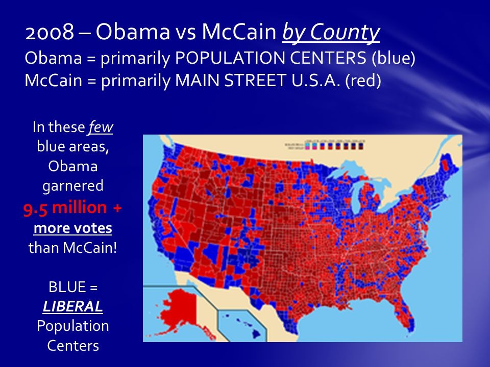 2008 – Obama vs McCain by County Obama = primarily POPULATION CENTERS (blue) McCain = primarily MAIN STREET U.S.A.