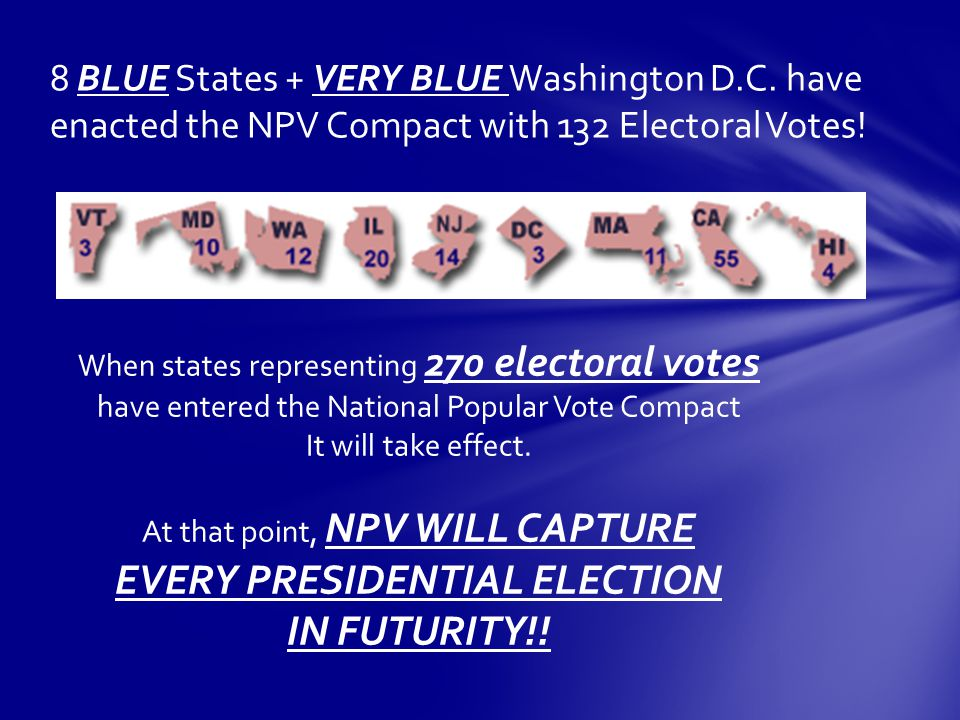 8 BLUE States + VERY BLUE Washington D.C. have enacted the NPV Compact with 132 Electoral Votes.