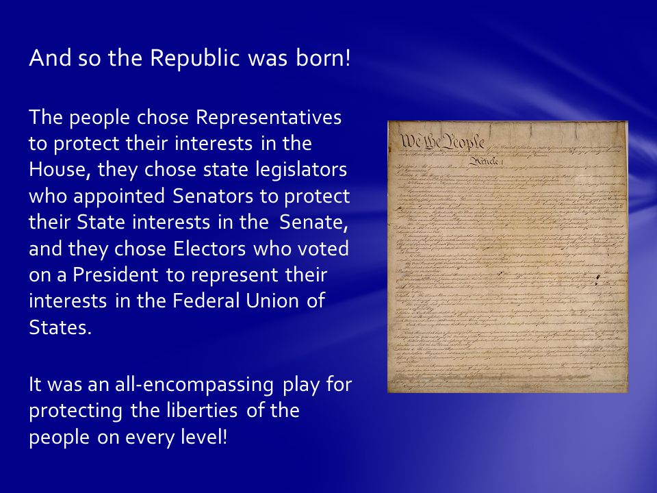And so the Republic was born.