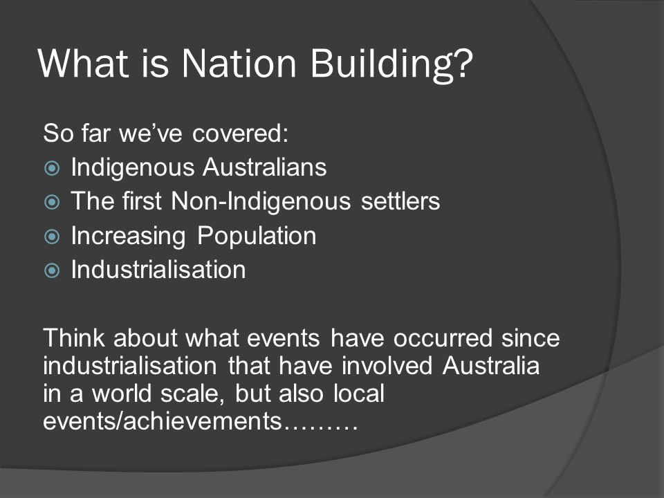 What is Nation Building.
