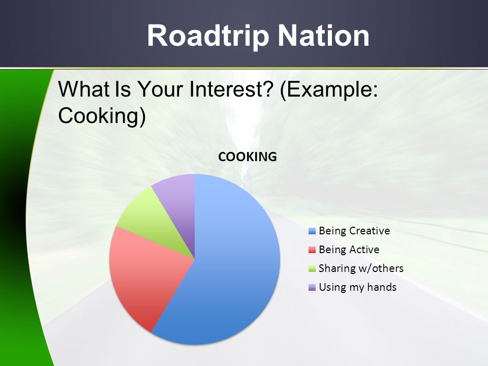 Roadtrip Nation Using Career Interest Profiler results, go to Roadtrip Nation under the careers tab.