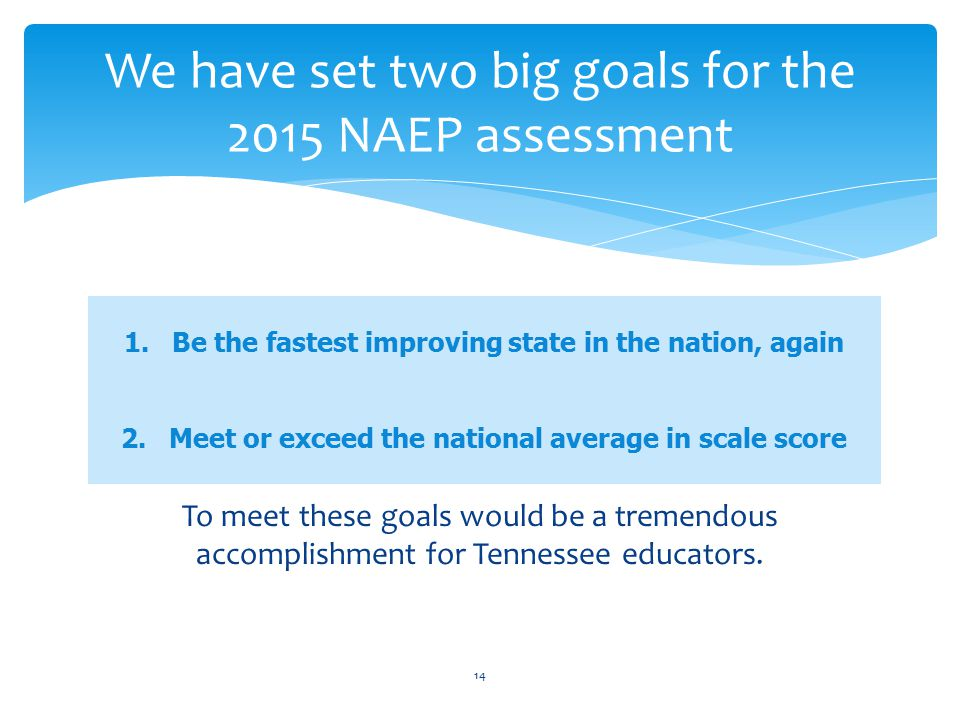 We have set two big goals for the 2015 NAEP assessment To meet these goals would be a tremendous accomplishment for Tennessee educators.