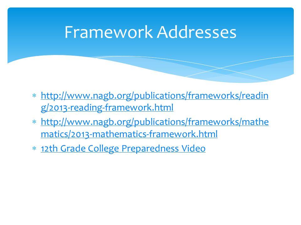  http://www.nagb.org/publications/frameworks/readin g/2013-reading-framework.html http://www.nagb.org/publications/frameworks/readin g/2013-reading-framework.html  http://www.nagb.org/publications/frameworks/mathe matics/2013-mathematics-framework.html http://www.nagb.org/publications/frameworks/mathe matics/2013-mathematics-framework.html  12th Grade College Preparedness Video 12th Grade College Preparedness Video Framework Addresses
