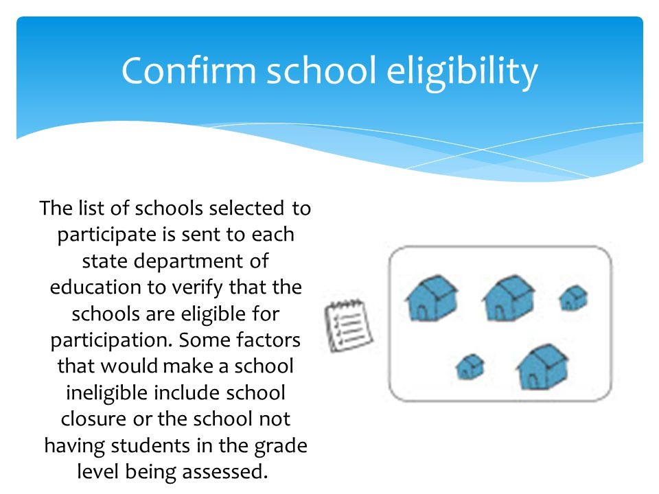 Confirm school eligibility The list of schools selected to participate is sent to each state department of education to verify that the schools are eligible for participation.