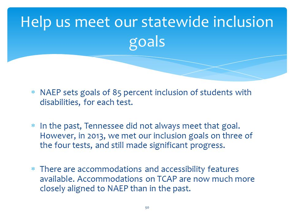 Help us meet our statewide inclusion goals  NAEP sets goals of 85 percent inclusion of students with disabilities, for each test.  In the past, Tenn