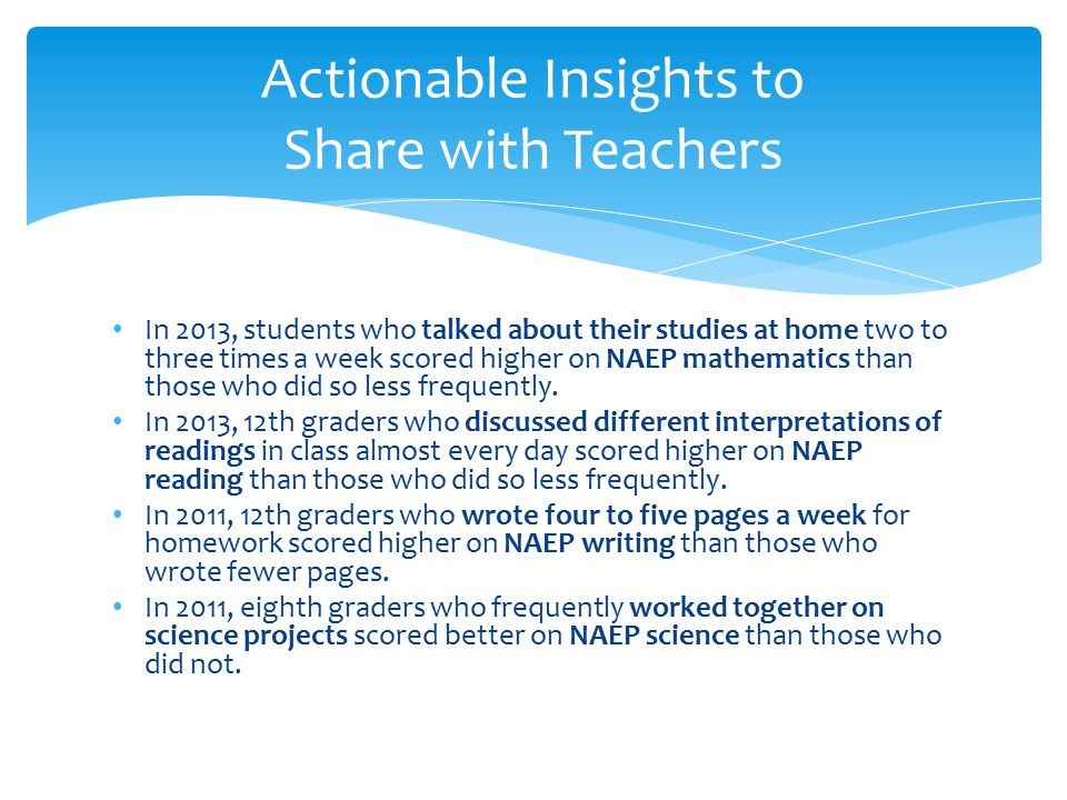 In 2013, students who talked about their studies at home two to three times a week scored higher on NAEP mathematics than those who did so less frequently.