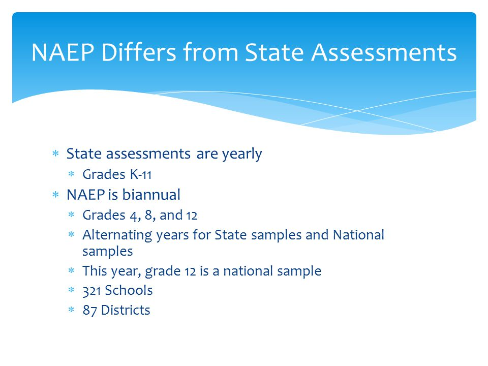  State assessments are yearly  Grades K-11  NAEP is biannual  Grades 4, 8, and 12  Alternating years for State samples and National samples  This year, grade 12 is a national sample  321 Schools  87 Districts NAEP Differs from State Assessments
