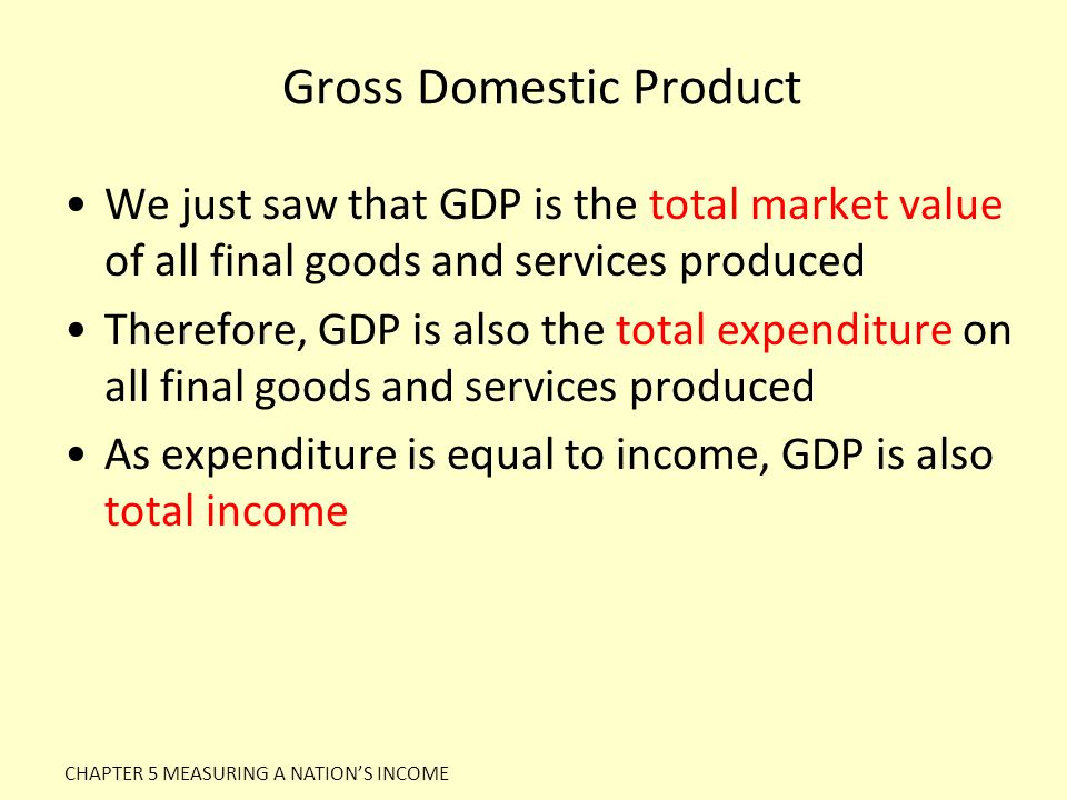 Gross Domestic Product We just saw that GDP is the total market value of all final goods and services produced Therefore, GDP is also the total expend