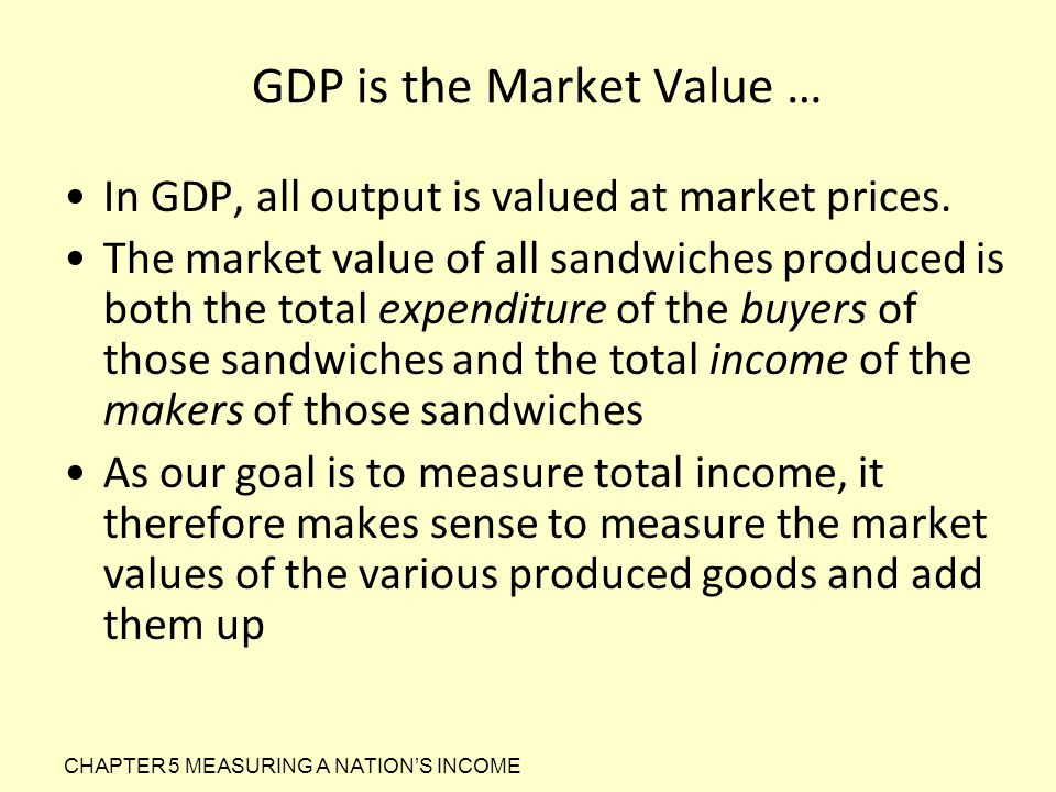 GDP is the Market Value … In GDP, all output is valued at market prices. The market value of all sandwiches produced is both the total expenditure of