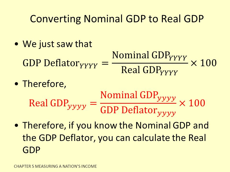 Converting Nominal GDP to Real GDP CHAPTER 5 MEASURING A NATION'S INCOME