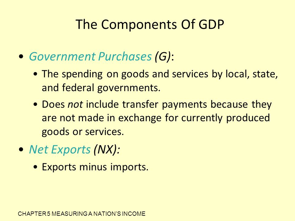 The Components Of GDP Government Purchases (G): The spending on goods and services by local, state, and federal governments. Does not include transfer