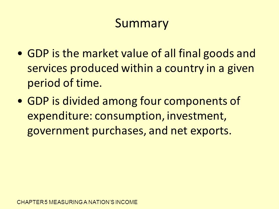 Summary GDP is the market value of all final goods and services produced within a country in a given period of time. GDP is divided among four compone