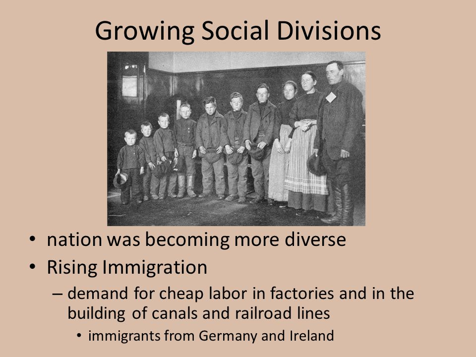 Growing Social Divisions nation was becoming more diverse Rising Immigration – demand for cheap labor in factories and in the building of canals and r