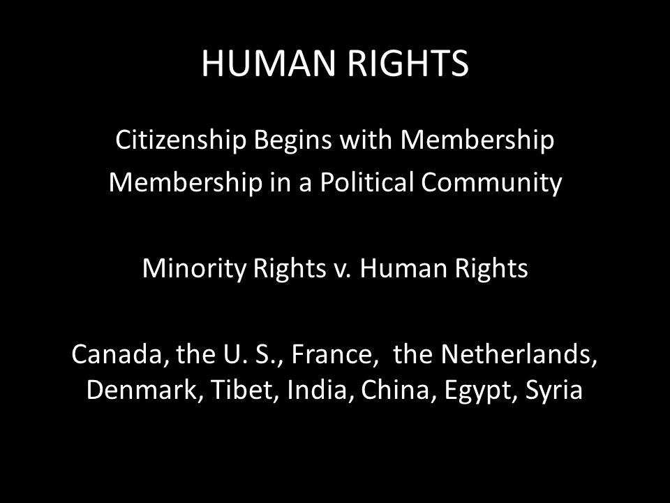 HUMAN RIGHTS Citizenship Begins with Membership Membership in a Political Community Minority Rights v.
