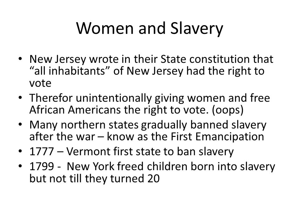 Slavery Even though slaves were freed, they were not equal.