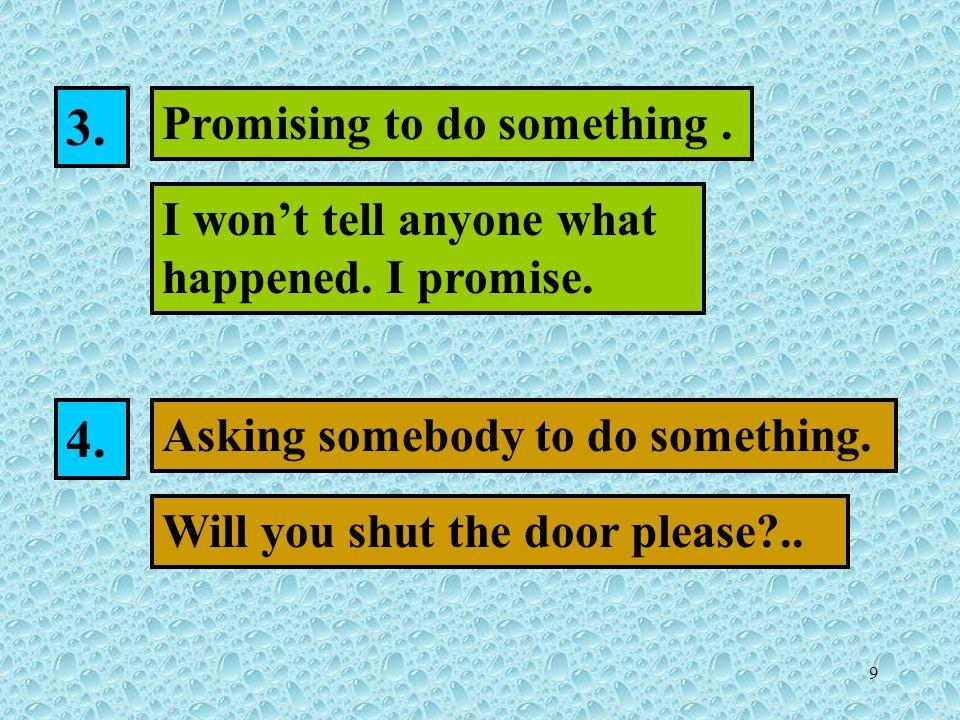 9 Promising to do something. I won't tell anyone what happened.