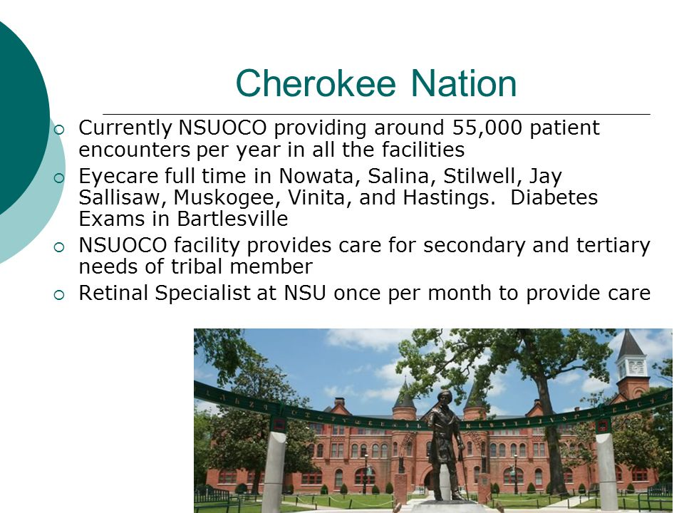 Cherokee Nation  Currently NSUOCO providing around 55,000 patient encounters per year in all the facilities  Eyecare full time in Nowata, Salina, St