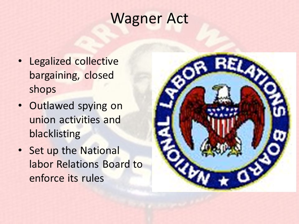 Wagner Act Legalized collective bargaining, closed shops Outlawed spying on union activities and blacklisting Set up the National labor Relations Board to enforce its rules