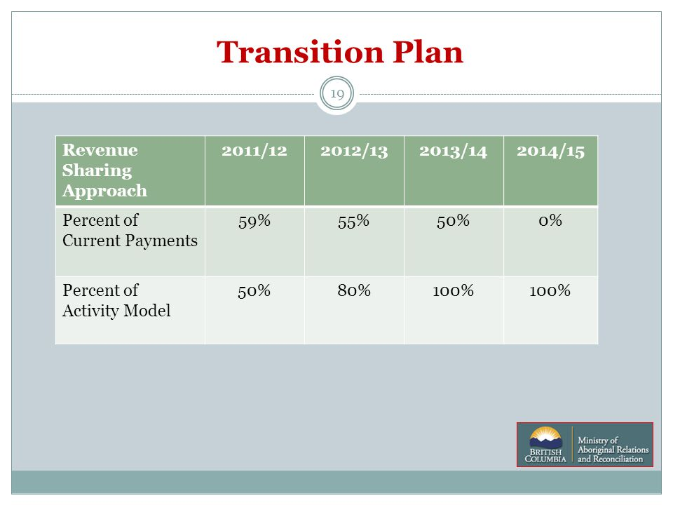 Transition Plan 19 Revenue Sharing Approach 2011/122012/132013/142014/15 Percent of Current Payments 59%55%50%0% Percent of Activity Model 50%80%100%