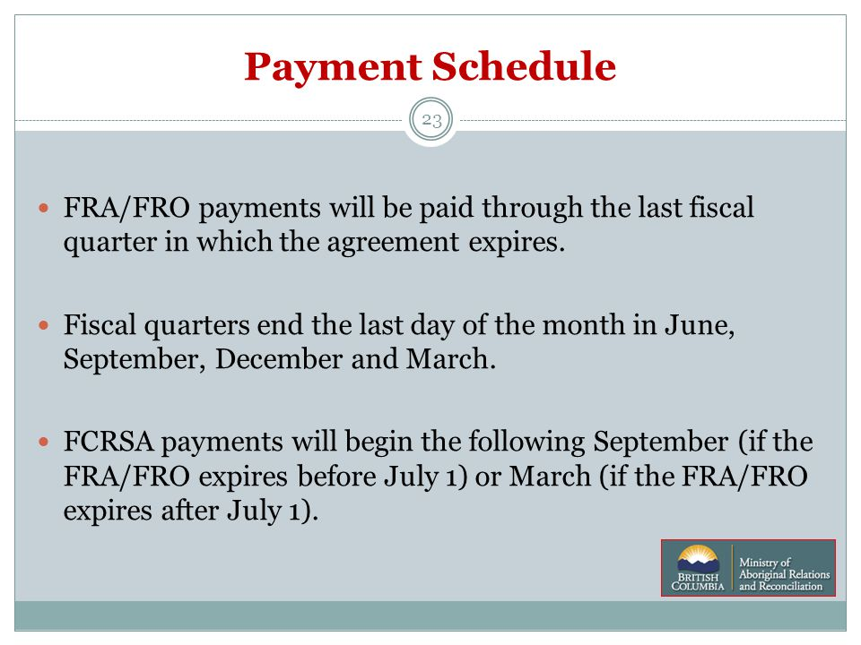 Payment Schedule 23 FRA/FRO payments will be paid through the last fiscal quarter in which the agreement expires.