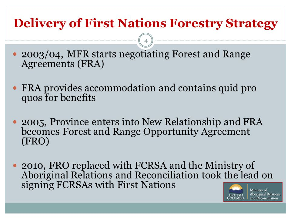 Delivery of First Nations Forestry Strategy 4 2003/04, MFR starts negotiating Forest and Range Agreements (FRA) FRA provides accommodation and contains quid pro quos for benefits 2005, Province enters into New Relationship and FRA becomes Forest and Range Opportunity Agreement (FRO) 2010, FRO replaced with FCRSA and the Ministry of Aboriginal Relations and Reconciliation took the lead on signing FCRSAs with First Nations