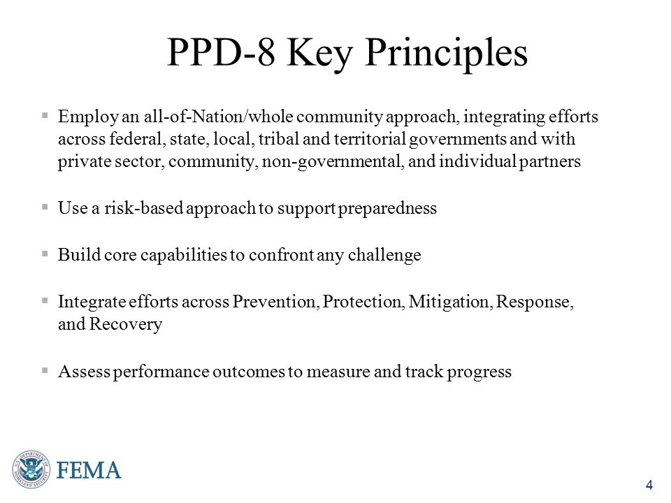5 Defined by the capability target measures of the core capabilities within the mission areas of prevent, protect, mitigate, respond, and recover The National Preparedness Goal A secure and resilient Nation with the capabilities required across the whole community to prevent, protect against, mitigate, respond to, and recover from the threats and hazards that pose the greatest risk.
