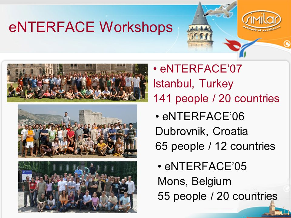 eNTERFACE Workshops eNTERFACE'07 Istanbul, Turkey 141 people / 20 countries eNTERFACE'06 Dubrovnik, Croatia 65 people / 12 countries eNTERFACE'05 Mons, Belgium 55 people / 20 countries