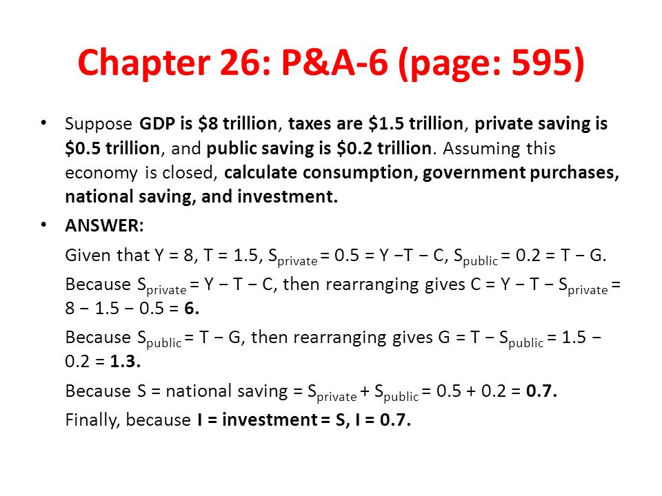 Chapter 26: P&A-6 (page: 595) Suppose GDP is $8 trillion, taxes are $1.5 trillion, private saving is $0.5 trillion, and public saving is $0.2 trillion