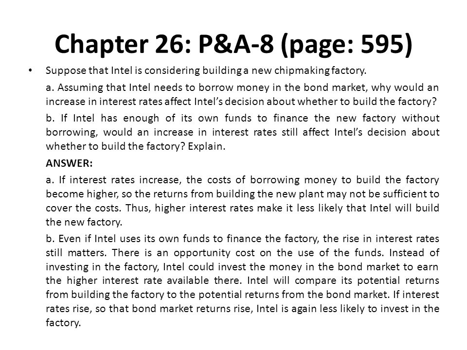 Chapter 26: P&A-8 (page: 595) Suppose that Intel is considering building a new chipmaking factory. a. Assuming that Intel needs to borrow money in the