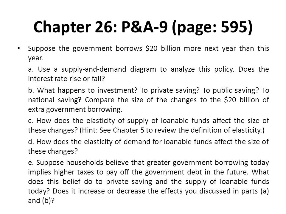 Chapter 26: P&A-9 (page: 595) Suppose the government borrows $20 billion more next year than this year. a. Use a supply-and-demand diagram to analyze