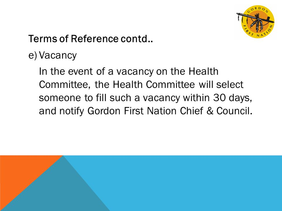 Terms of Reference contd..