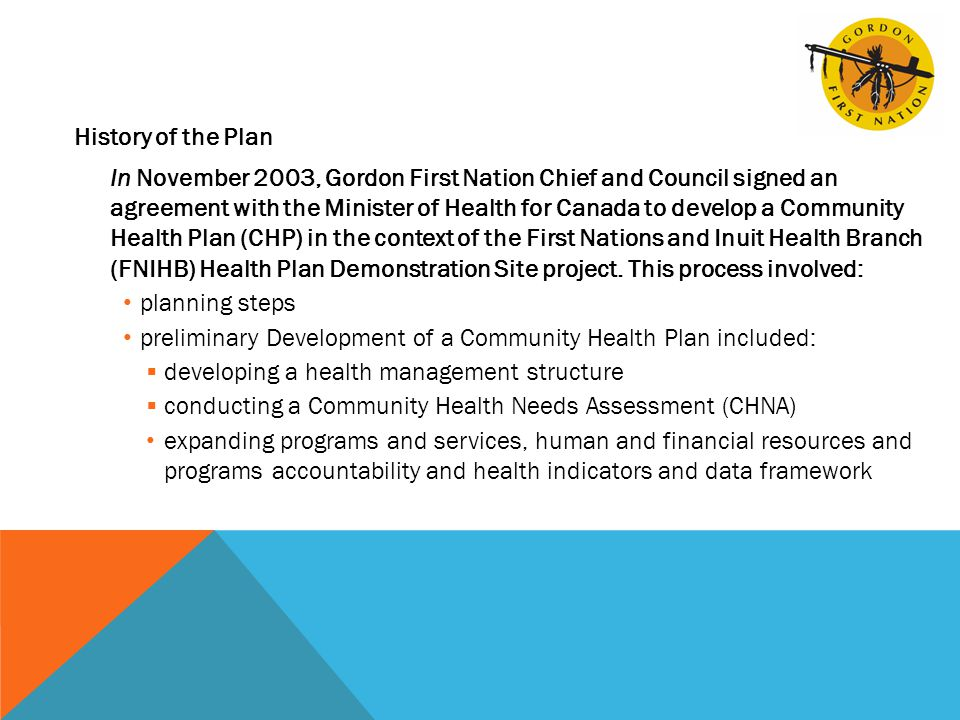 History of the Plan In November 2003, Gordon First Nation Chief and Council signed an agreement with the Minister of Health for Canada to develop a Community Health Plan (CHP) in the context of the First Nations and Inuit Health Branch (FNIHB) Health Plan Demonstration Site project.