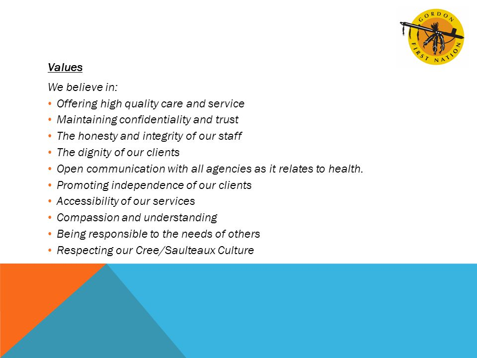 Values We believe in: Offering high quality care and service Maintaining confidentiality and trust The honesty and integrity of our staff The dignity of our clients Open communication with all agencies as it relates to health.