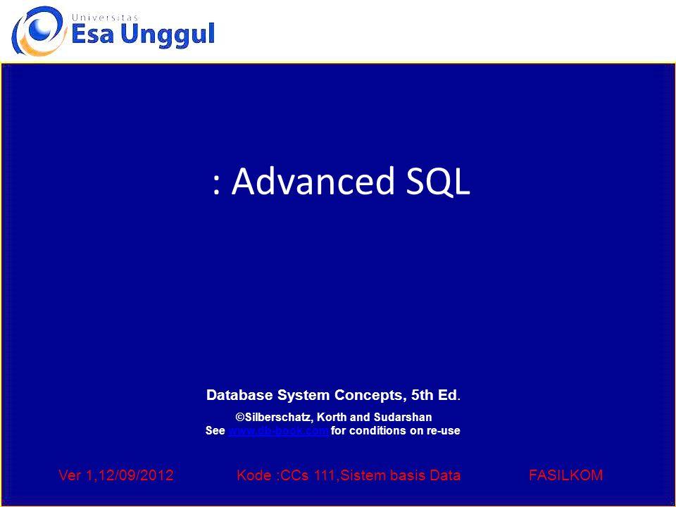 Ver 1,12/09/2012Kode :CCs 111,Sistem basis DataFASILKOM ODBC Code int ODBCexample() { RETCODE error; HENV env; /* environment */ HDBC conn; /* database connection */ SQLAllocEnv(&env); SQLAllocConnect(env, &conn); SQLConnect(conn, aura.bell-labs.com , SQL_NTS, avi , SQL_NTS, avipasswd , SQL_NTS); { ….