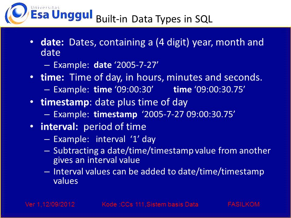 Ver 1,12/09/2012Kode :CCs 111,Sistem basis DataFASILKOM Built-in Data Types in SQL date: Dates, containing a (4 digit) year, month and date – Example: date ' ' time: Time of day, in hours, minutes and seconds.