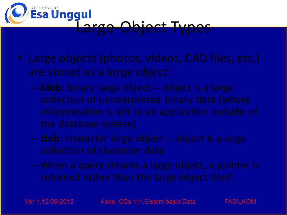 Ver 1,12/09/2012Kode :CCs 111,Sistem basis DataFASILKOM End of Chapter