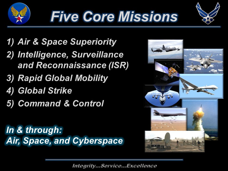 1)Air & Space Superiority 2)Intelligence, Surveillance and Reconnaissance (ISR) 3)Rapid Global Mobility 4)Global Strike 5)Command & Control