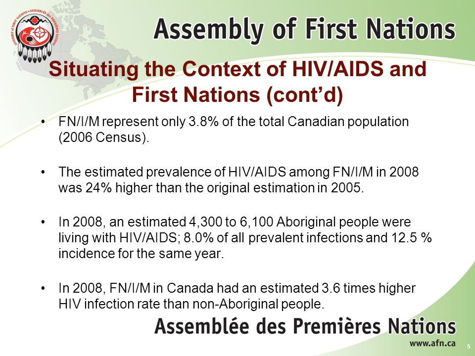 Situating the Context of HIV/AIDS and First Nations (cont'd) Aboriginal youth (15-29 years) represent 40.9% of all Canadian positive tests for this age group (Public Health Agency, 2010).