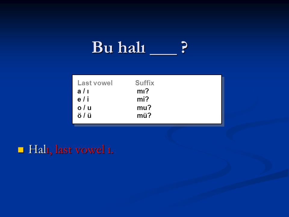 Bu halı ___ . Halı, last vowel ı. Halı, last vowel ı.