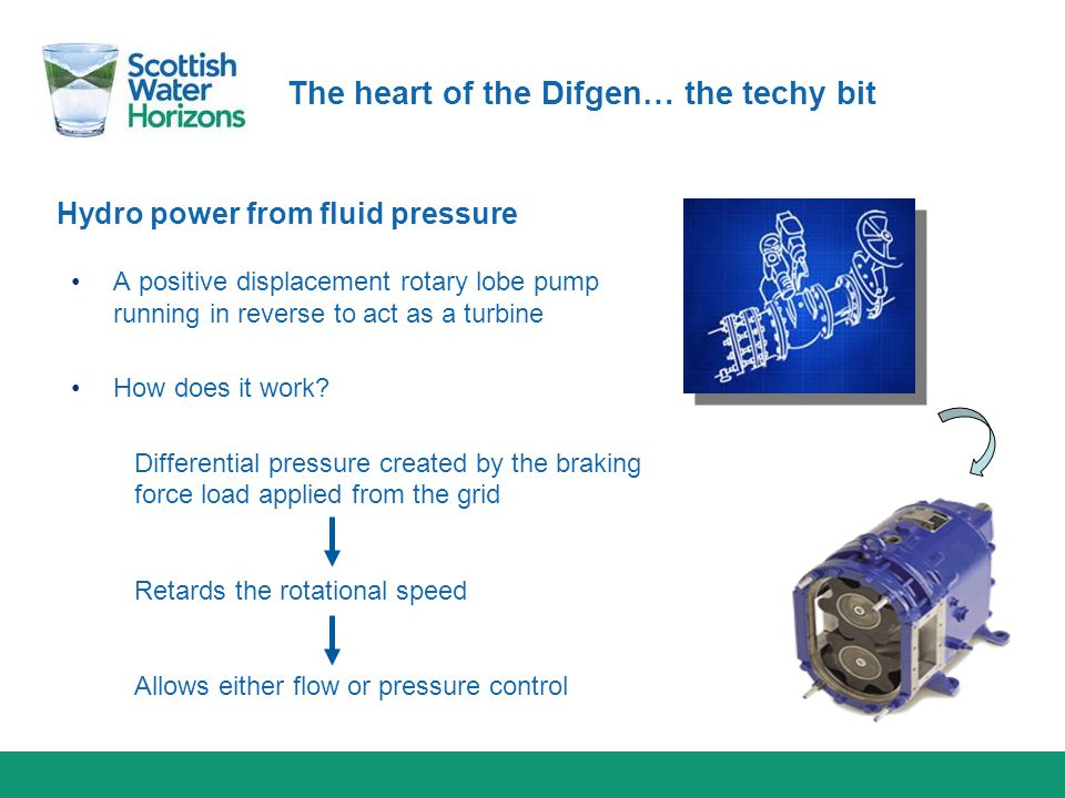 Hydro power from fluid pressure The heart of the Difgen… the techy bit A positive displacement rotary lobe pump running in reverse to act as a turbine