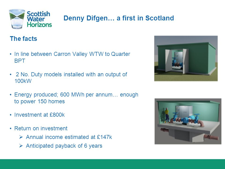 Denny Difgen… a first in Scotland The facts In line between Carron Valley WTW to Quarter BPT 2 No. Duty models installed with an output of 100kW Energ