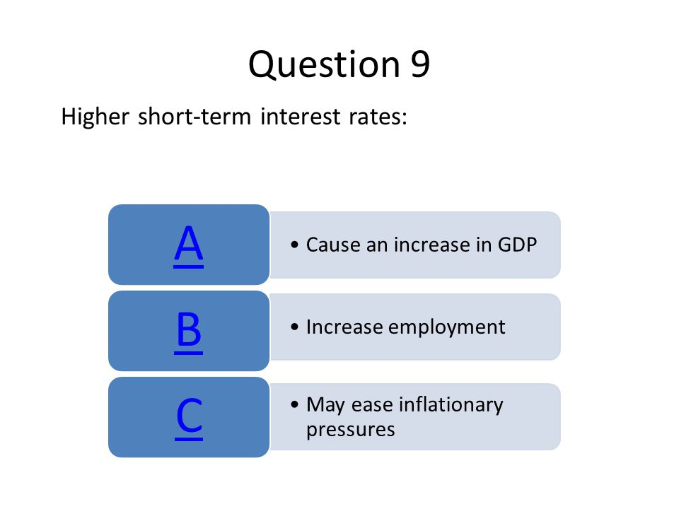 Question 9 Higher short-term interest rates: Cause an increase in GDP A Increase employment B May ease inflationary pressures C