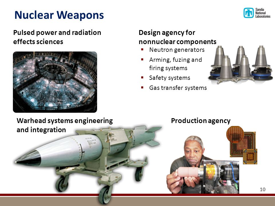 Nuclear Weapons Design agency for nonnuclear components Pulsed power and radiation effects sciences Warhead systems engineering and integration  Neutron generators  Arming, fuzing and firing systems  Safety systems  Gas transfer systems 10 Production agency