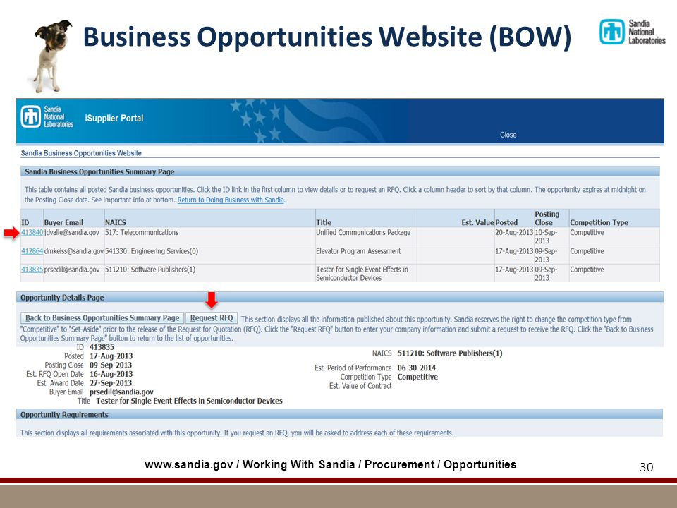 Business Opportunities Website (BOW) 30   / Working With Sandia / Procurement / Opportunities