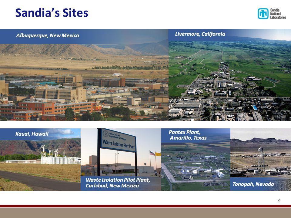 Sandia's Sites 4 Albuquerque, New Mexico Livermore, California Waste Isolation Pilot Plant, Carlsbad, New Mexico Kauai, Hawaii Pantex Plant, Amarillo,