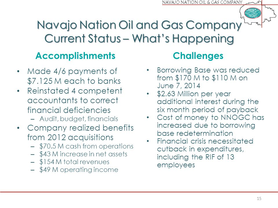 NAVAJO NATION OIL & GAS COMPANY Navajo Nation Oil and Gas Company Current Status – What's Happening Accomplishments Made 4/6 payments of $7.125 M each to banks Reinstated 4 competent accountants to correct financial deficiencies – Audit, budget, financials Company realized benefits from 2012 acquisitions – $70.5 M cash from operations – $43 M increase in net assets – $154 M total revenues – $49 M operating income Challenges Borrowing Base was reduced from $170 M to $110 M on June 7, 2014 $2.63 Million per year additional interest during the six month period of payback Cost of money to NNOGC has increased due to borrowing base redetermination Financial crisis necessitated cutback in expenditures, including the RIF of 13 employees 15
