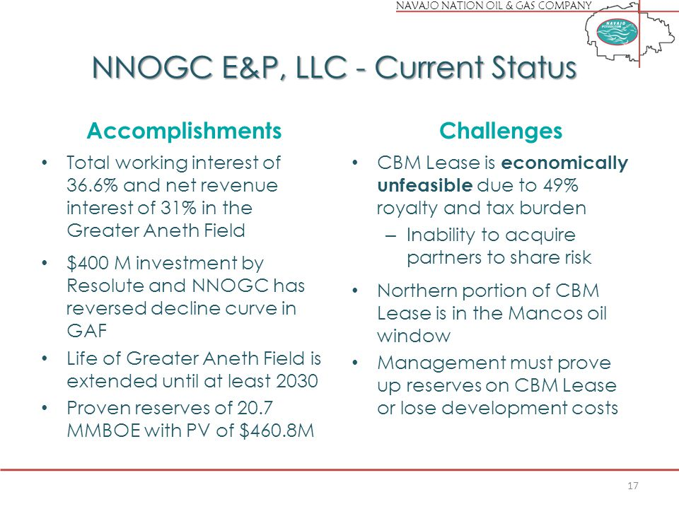 NAVAJO NATION OIL & GAS COMPANY NNOGC E&P, LLC - Current Status Accomplishments Total working interest of 36.6% and net revenue interest of 31% in the Greater Aneth Field $400 M investment by Resolute and NNOGC has reversed decline curve in GAF Life of Greater Aneth Field is extended until at least 2030 Proven reserves of 20.7 MMBOE with PV of $460.8M Challenges CBM Lease is economically unfeasible due to 49% royalty and tax burden – Inability to acquire partners to share risk Northern portion of CBM Lease is in the Mancos oil window Management must prove up reserves on CBM Lease or lose development costs 17