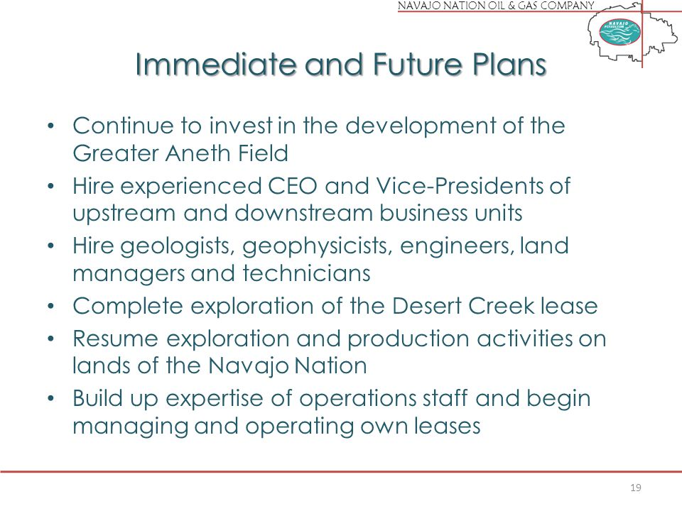 NAVAJO NATION OIL & GAS COMPANY Immediate and Future Plans Continue to invest in the development of the Greater Aneth Field Hire experienced CEO and Vice-Presidents of upstream and downstream business units Hire geologists, geophysicists, engineers, land managers and technicians Complete exploration of the Desert Creek lease Resume exploration and production activities on lands of the Navajo Nation Build up expertise of operations staff and begin managing and operating own leases 19